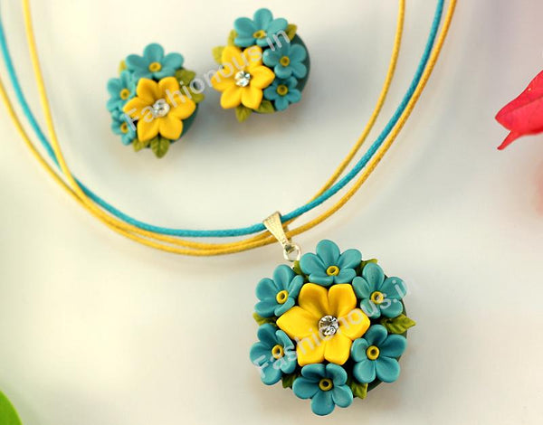 Blue with Yellow Floral Necklace and  Earrings-ZAPCNS-032