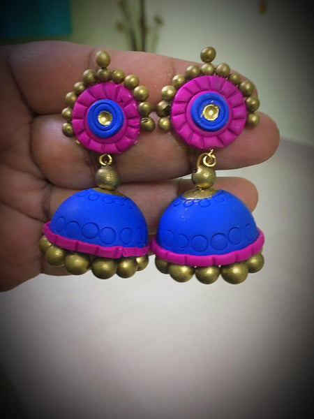 Sapphire Blue With Mustard Polymer Clay Jhumka