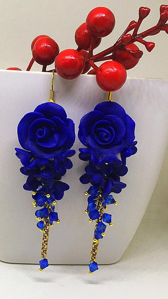 Crimson Red and Blue Floral Polymer Clay Earrings