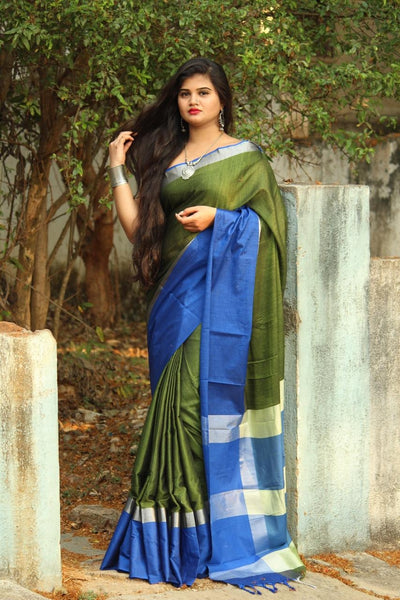Bottle Green Linen Saree with Royal Blue Border-LN206
