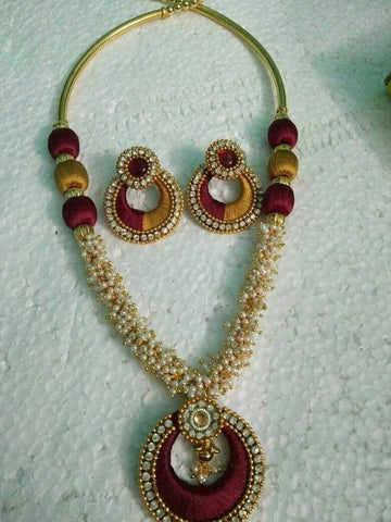 Brown Color Pendant Silk Thread Jewellery Set