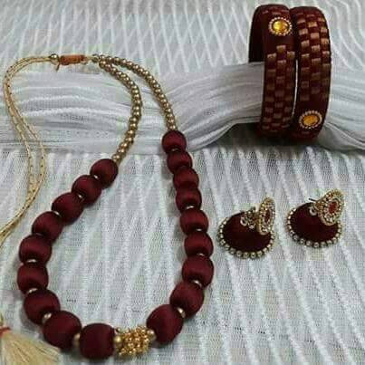 Brown Color Silk Thread Jewellery Set