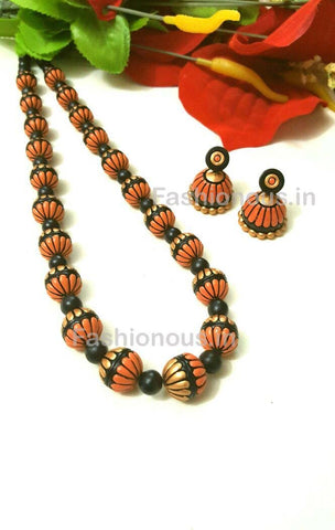 Brown and Golden Floral Terracotta Jewellery Set-TJS-023