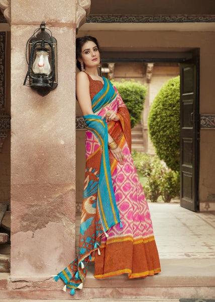 Brown and Pink Jute Saree-JS003