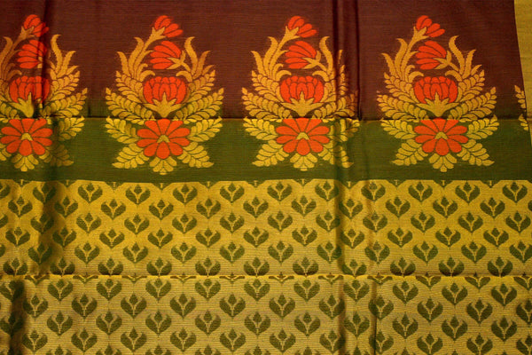 Brown and Purple Shaded Floral Designed Green Pallu Handwoven Chettinad Silk Cotton Saree