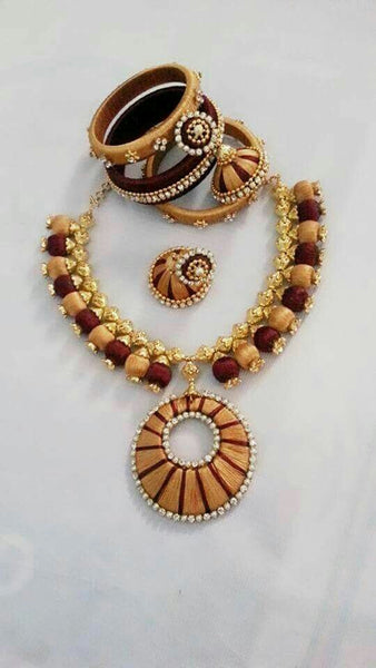 Brown and Sandal Round Pendant Silk Thread Jewellery Set