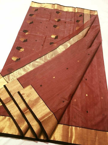 Brown with Golden and Dark Brown Floral Designed Chanderi Silk Saree-CHANSRE-066