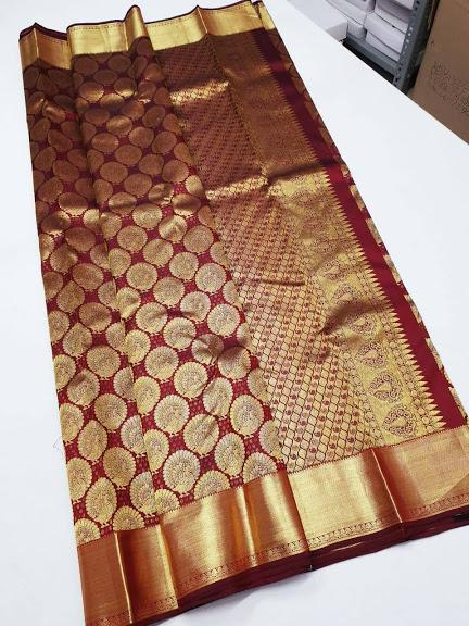 Brown with Golden border Kanchipuram Bridal Silk Saree BCKS 007