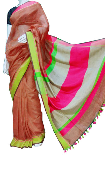 Brown with Green and Pink Striped Pallu Linen Saree
