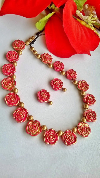 Bud Rose Terracotta Jewellery set