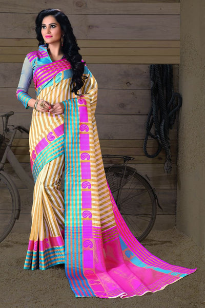 Burly Wood Fancy Cotton Saree-SRE-389