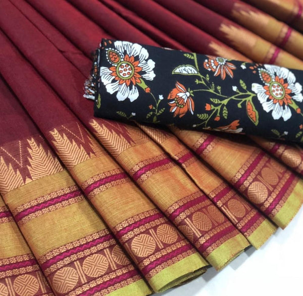 63a7bb7fc2 Dashing Red Chettinad Saree with contrast Floral Printed Kalamkari Blo