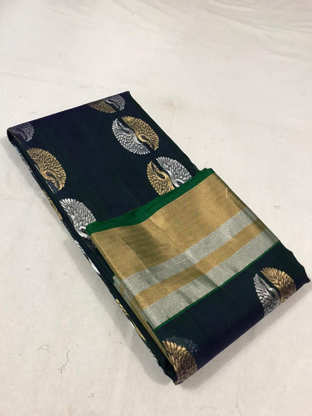 Chanderi Silk and Cotton Peacock Motif  Saree
