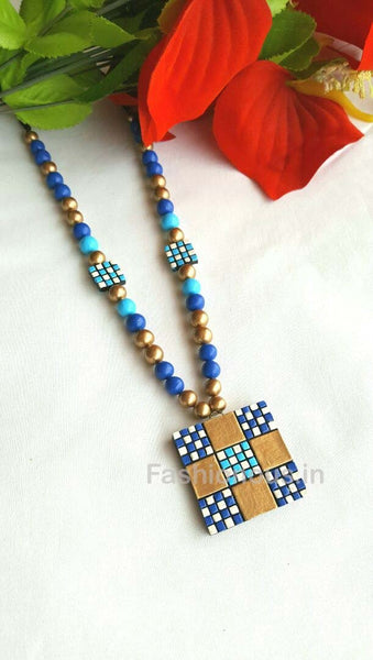 Checked Blue and Golden Terracotta Necklace-TJS-032