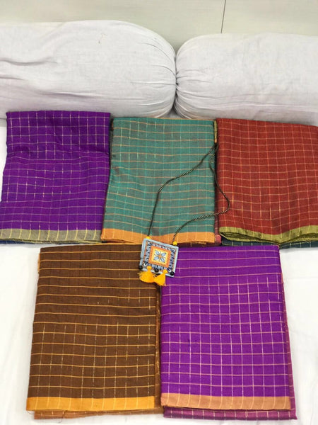 Dark Brown and Burly Wood Checked Silk Cotton Saree