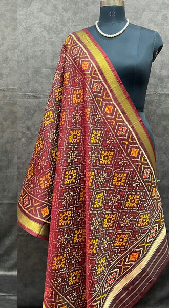 Cherry Red Handwoven Pure Silk Patola Dupatta