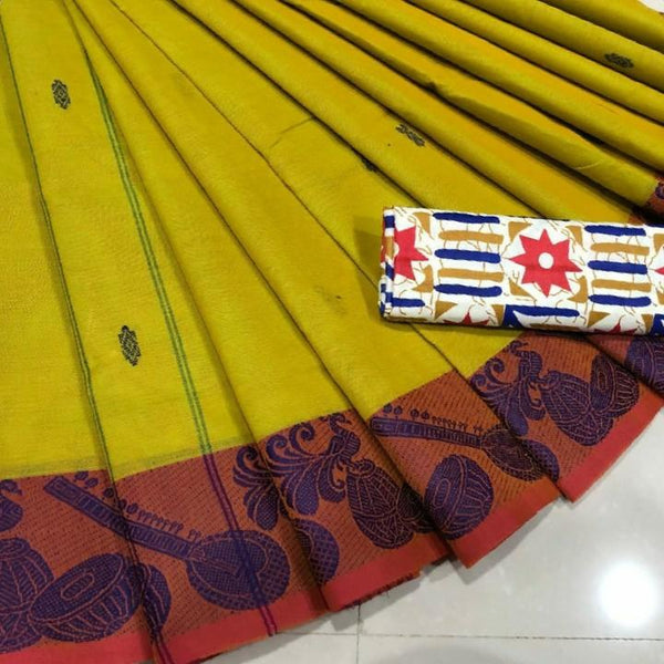 Pure Cotton Saree with Musical Instrument Motifs - CSH007
