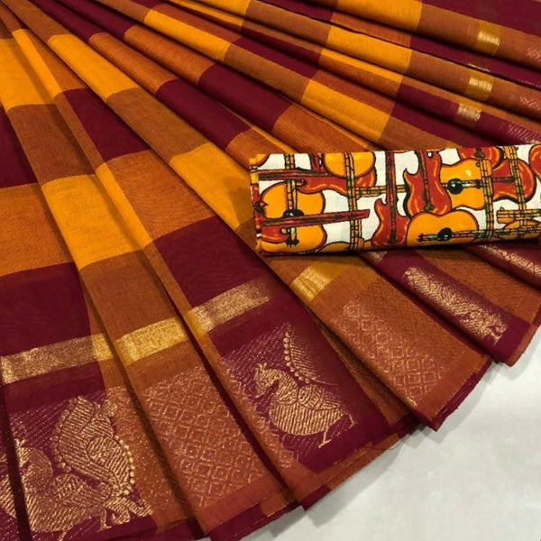 Traditional Pure Cotton Saree with Peacock Motif Border - CSH012
