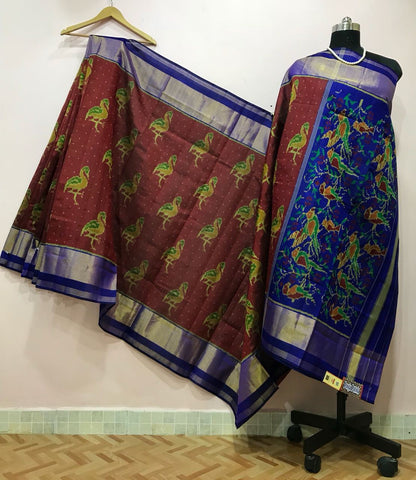 Chocalate Brown Bird Designed with Blue Border Patola Silk Saree-PPSRE-065