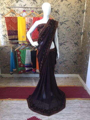 Chocolate Brown Georgette with Ribbon work and Rose Lace Designer Saree-SRE-208