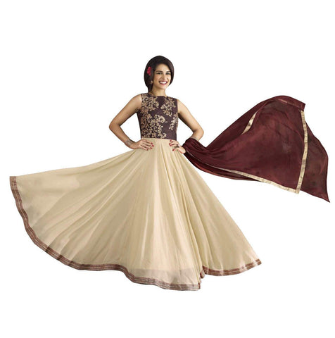 Chocolate Brown and White with Golden Floral Embroidery Anarkali Suit-LKEDM-110
