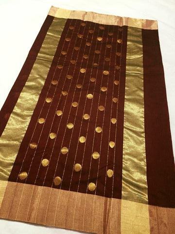 Chocolate Brown with Golden Stripped Dotted Zari Border Chanderi Silk Saree-CHANSRE-059