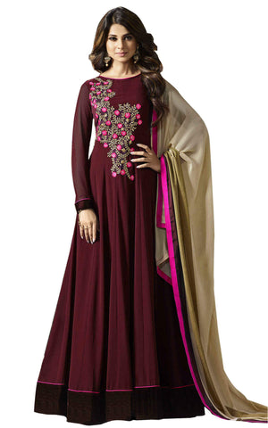 Chocolate Brown with Pink Floral Embroidery  Anarkali Suit-LKEDM-160