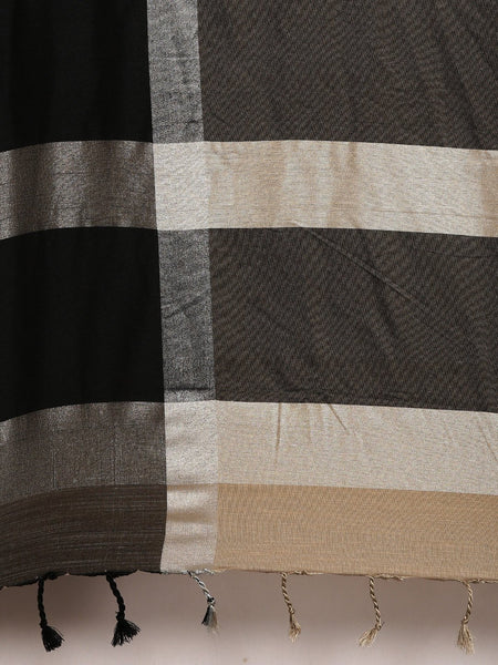 Coffee Brown and Black Attractive Big Border Angolla Linen Saree (Blend)