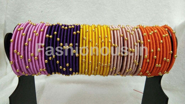 Colorfull Golden Beaded Silk Thread Bangle Set-STJSW-029