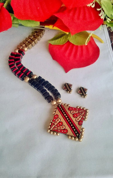 Colorful Square Terracotta Jewellery Set