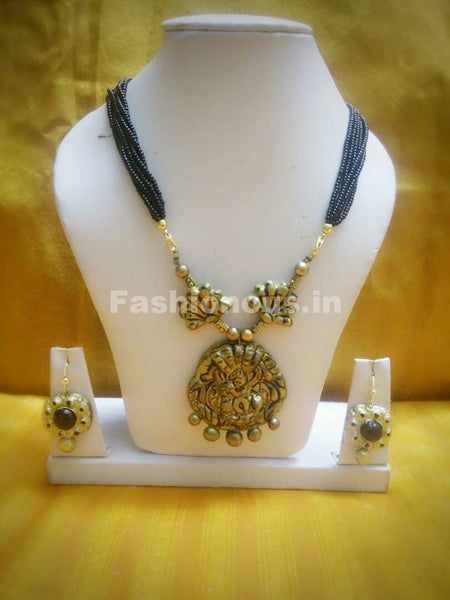 Combo of Antique Designs with Black Beaded Rope Polymer Clay Jewellery Set