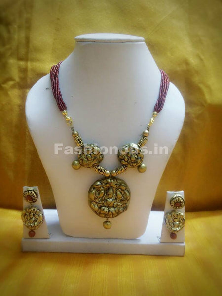 Combo of Antique Designs with Maroon Beaded Rope Polymer Clay Jewellery Set