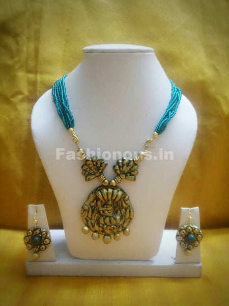 Combo of Antique Designs with Turquoise Beaded Rope Polymer Clay Jewellery Set