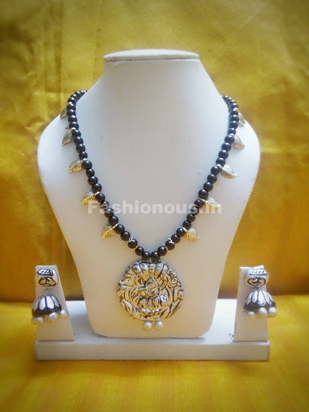 Combo of Krishna Pendant and German Silver Beads Polymer Clay Jewellery Set