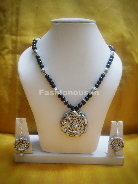 Combo of Lakshmi Pendant and German Silver and BlackBeads Polymer Clay Jewellery Set