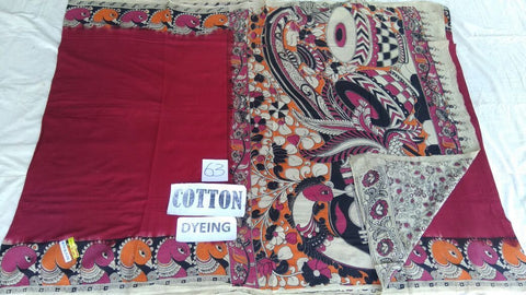 Cotton Dyed Kalamkari Saree Design-CDKS-016