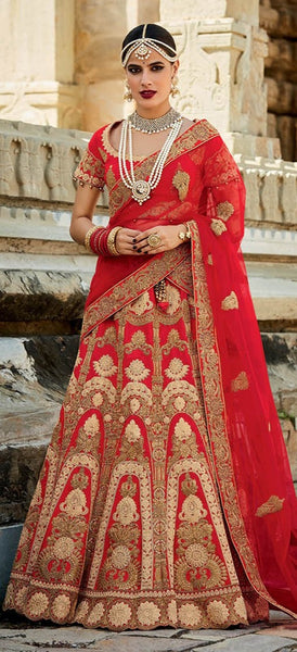 Cream & Dark Golden Fine Art Embroidered Bridal Lehenga