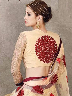 Cream Red Embroidered Bridal Lehenga