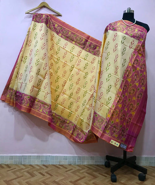 Cream Shaded Floral Baby Pink Pallu Patola Silk Saree-PPSRE-038