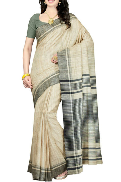 Cream with Gray Stripped Pallu Linen Saree-LNSRE-015
