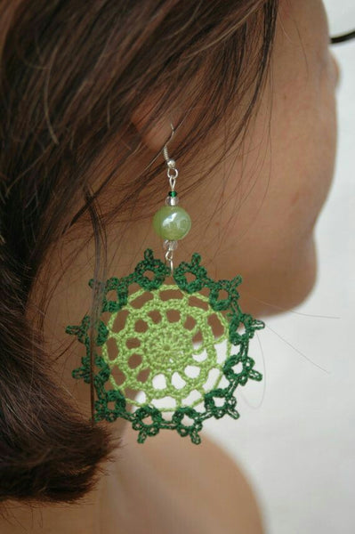 Green Color Floral Traditional Statement Crochet Earring Sets