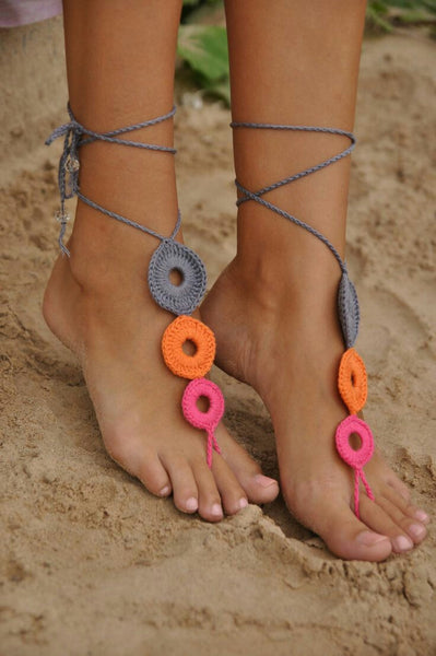 Hand-made Adjustable Gray-Orange-Pink Circular Loop Design Cotton Barefoot Women Crochet Anklets
