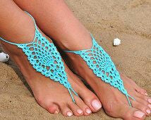 Hand-made Adjustable Turquoise Color Cotton Barefoot Women Crochet Anklets