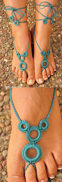 Hand-made Adjustable Turquoise Colorwith Circular Loop Design Cotton Barefoot Women Crochet Anklets
