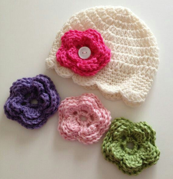 Handmade Baby Cream Color Hat with Various Colors Florals Crochet Accessories