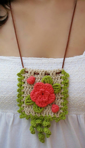 Handmade Pendent Crochet Jewellery Set inGreen and Cream Color with Orange flower