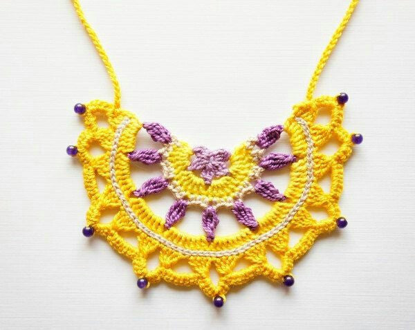 Handmade Pendent Crochet Jewellery Set in Yellow and Purple Color Half Floral Design with PurpleBeads