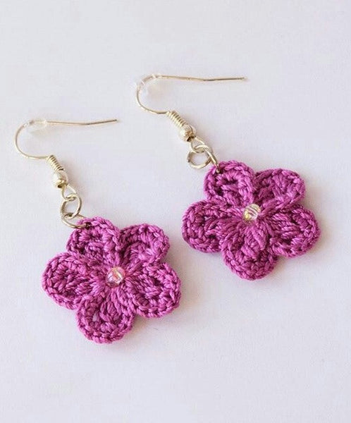 Hot Pink Color Floral Traditional Statement Crochet Earring Sets