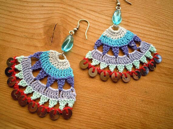 Multi Color Half Moon Floral Traditional Statement Crochet Earring Sets