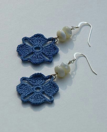 Navy Blue Color Floral with White Beads Traditional Statement Crochet Earring Sets